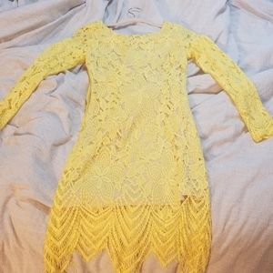 Yellow lace mini Dress